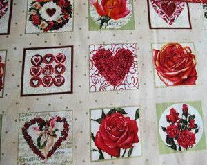 Tessuto americano ideale per patchwork, quilt e cucito creativo, realizzato in cotone 100% a tema San Valentino in altezza di cm 110.