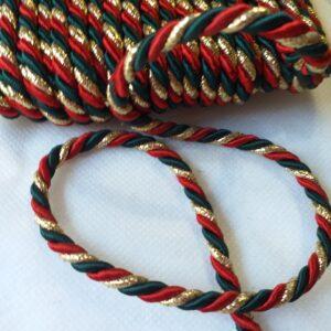 Cordoncino rosso/verde/oro
