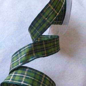 "Nastro ""scozzese"" verde/oro. Altezza 25 mm."