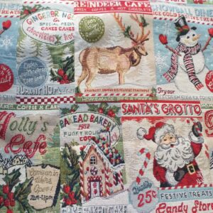 Tessuto di gobelin con fantasia natalizia.