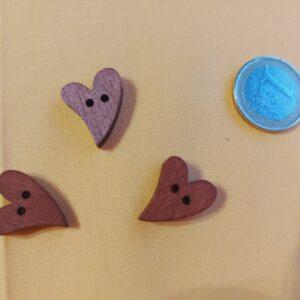 bottone cuore in legno