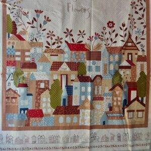 """Pannello """"living with flowers"""" in cotone 100% americano."""